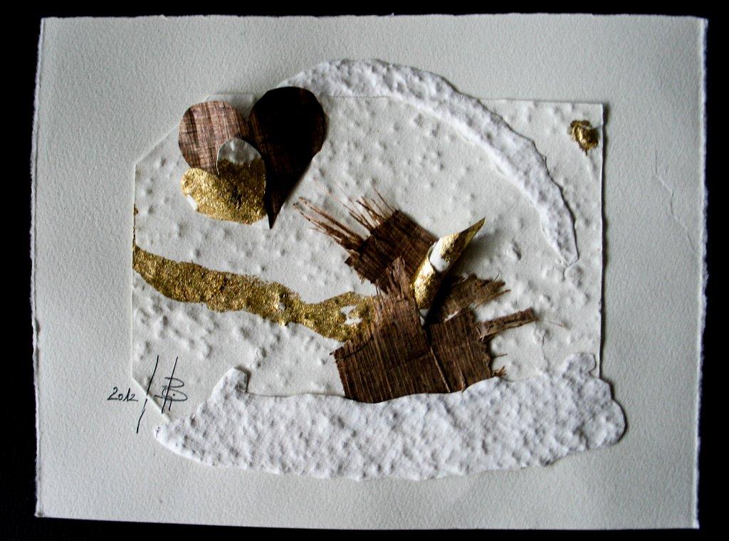 Büttenherzen mit original Papyrusstreifen